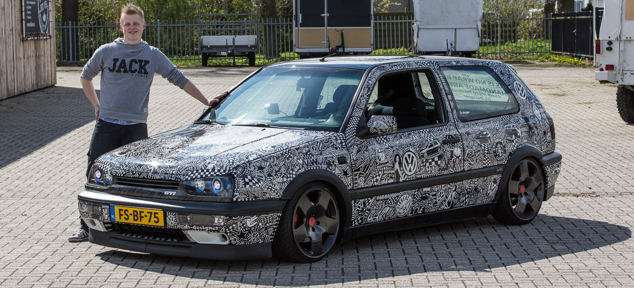 der malende holl nder filzstift statt folie   vw golf gti als art car   vau max inside   vau