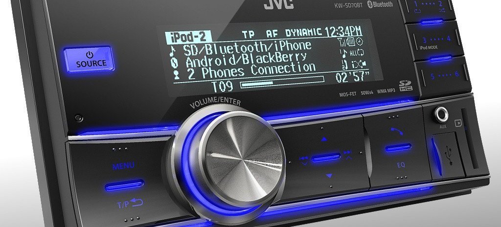neuer usb sd cd receiver von jvc im doppel din format app und audio streaming tauglich der kw. Black Bedroom Furniture Sets. Home Design Ideas