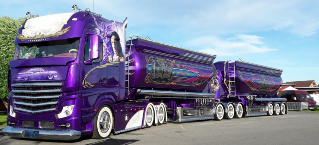 "Mercedes Actros Showtruck mit der Extra-Portion Bling: Low LKW! Der violette ""Lowrider"" ist ein Truck-Highlight"